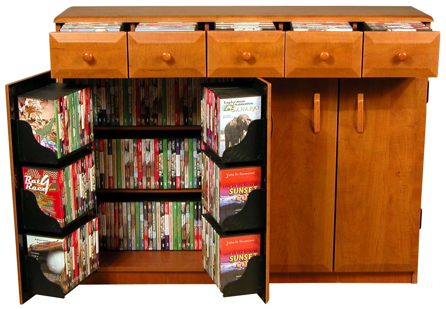 Cherry Wood Dvd Storage Cabinet Cd Dvd Storage Cabinet Rack Tv Stand W Drawers New Ebay