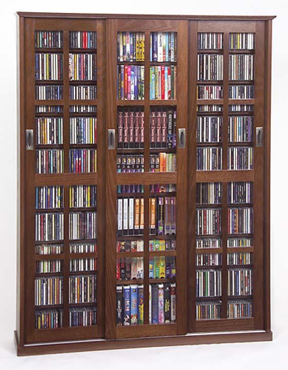 Glass Door 1050 Cd 504 Dvd Storage Cabinet Rack New Ebay