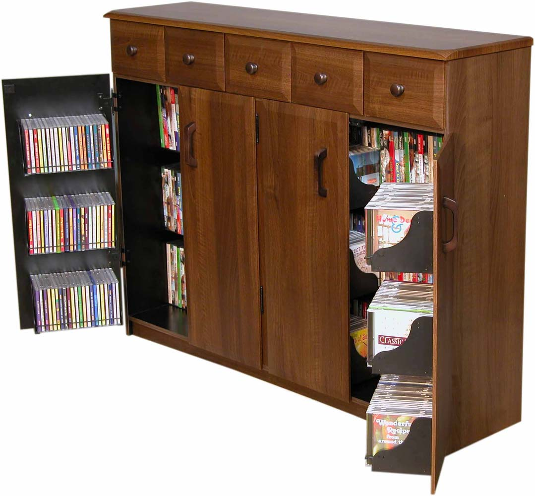 cd dvd storage cabinet rack tv stand w drawers new ebay. Black Bedroom Furniture Sets. Home Design Ideas