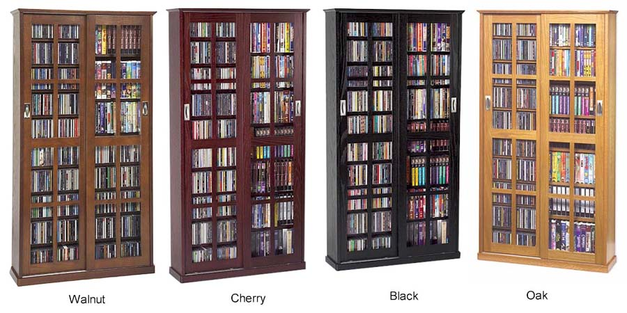 Sliding Glass Door 700 CD 336 DVD Storage Cabinet NEW