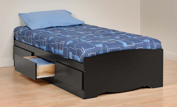 Details about Sonoma Twin Platform Mates Bed w/ Storage Drawers - Black NEW