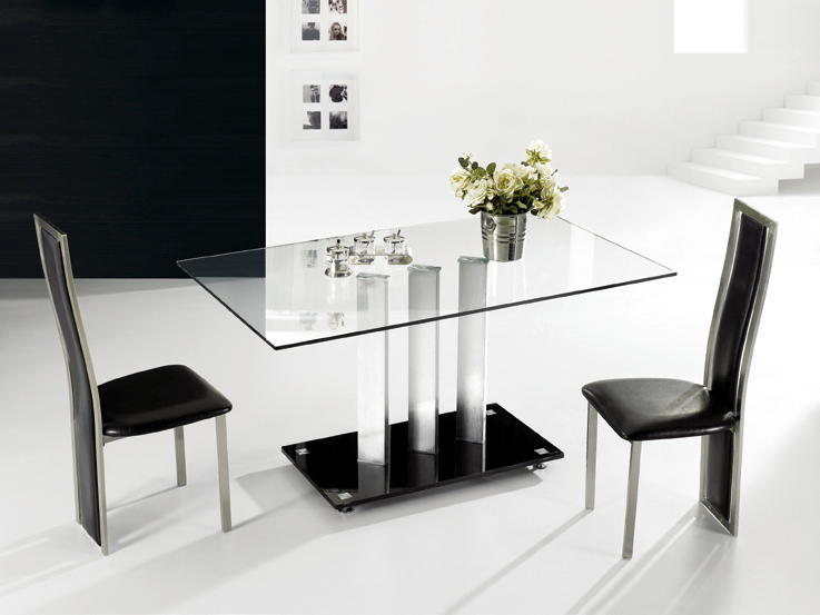 Details About TransDeco Stainless Steel Glass Dining Table NEW