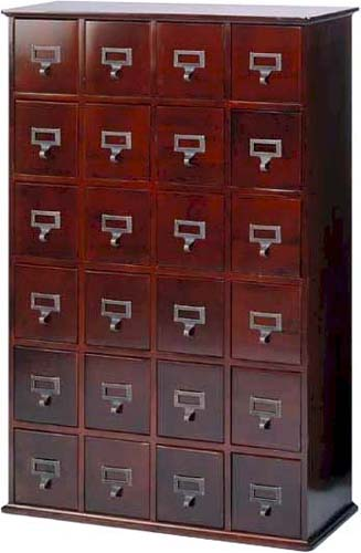 Solid Wood Library 192 Dvd 456 Cd Storage Cabinet W 24 Drawers